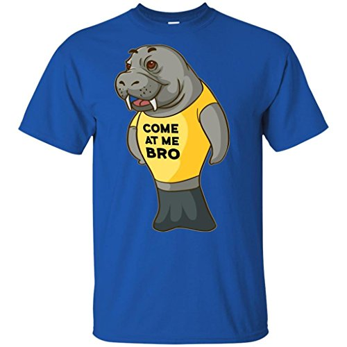 Manatee Come at Me Bro Shirt Commercial Novelty T Shirt for Men Women Boys Girls (Royal, Kids 14-16/Youth L)