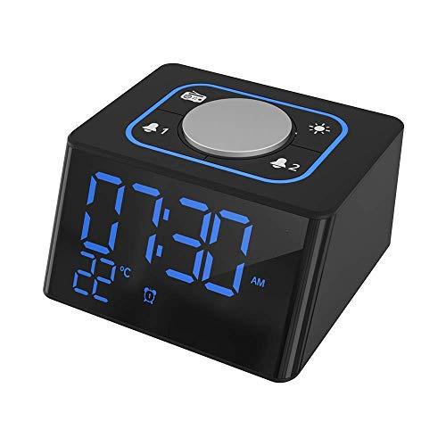 HYY-YY digitale wekker, draagbare AM/FM-klok Radio, wekkerradio met LED-scherm, Snooze, Dimmer, slaaptimer en dubbele waarschuwingen