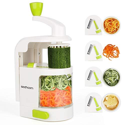 Sedhoom Coupe légumes Spirale ménager avec 4 Lames, Foldable Spiraliseur de légumes,légumes,Julienne Nouilles,courgettes,comme à Spaghetti et Machine à pâtes,Nouilles,Rubans ou vermicelles