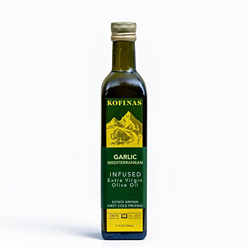 Garlic Mediterranean Flavor Extra Virgin First Cold Pressed Olive Oil 500 Ml (17 Oz) (Rosemary, Thyme, Basil, and Garlic)