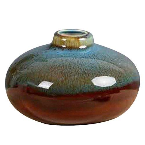 JUNGEN Jarrón de cerámica de Creativo Artesanías de cerámica florero de Moda Decoración Simple para jardín casero, Azul