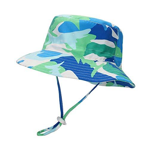 LACOFIA Cappello da Sole per Bambino Cappellino Estivo da 50 + UPF Protezione Solare Neonato Berretto da Spiaggia con Cinturino sottogola Regolabile squalo Verde 6-12 Mesi