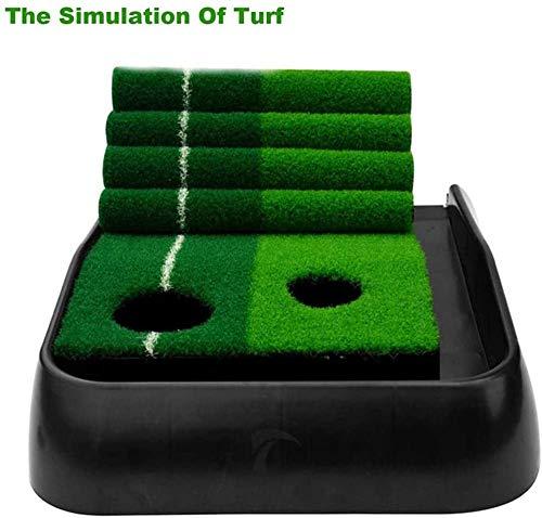 オートボールリターン機能ゲームギフトと6ボールとパットでカーペットマットパター練習セットを置くQAZインドアゴルフ