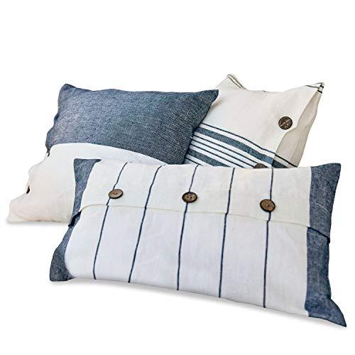 Loberon Kissen 3er Set Balint, Leinen, Polyester, Kokosnussholz, weiß/blau