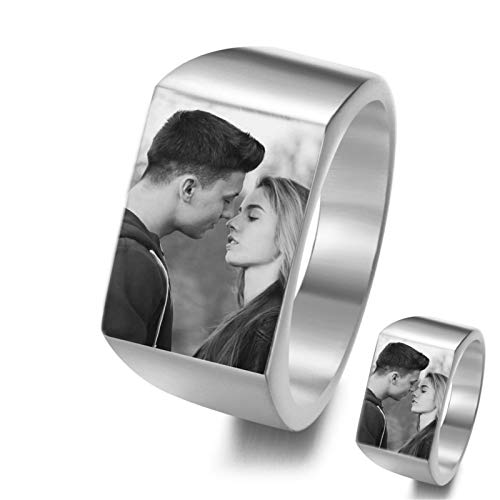 bishixiangenbaihuo Personalized Ring Customized Ring Photo Ring Couple Ring Birthday Anniversary Christmas Personalized Gift(Silver 10.5)