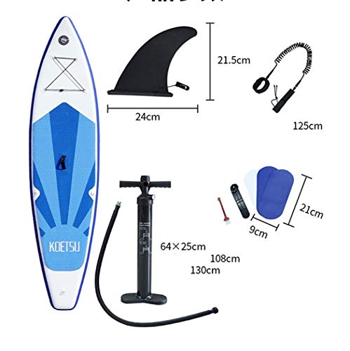 XUDREZ Tavola gonfiabile Stand Up Paddle Board, Surf Surf, doppio strato Touring iSUP, pinna inferiore per paddling e surf, Adj Paddle, guinzaglio, pompa e zaino, Unisex - Adulto, Blu, 3.8m