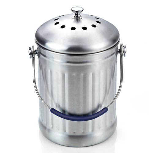 Save %11 Now! Cook N Home 1 Gallon Stainless Steel Kitchen Compost Bin with Charcoal Filter