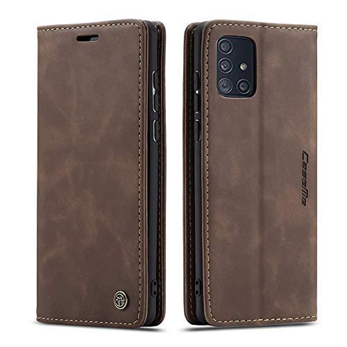 UEEBAI Handyhülle für Samsung Galaxy A71, Retro Matte Handyhülle PU Fallschutz Lederhülle Weich TPU Klapphülle mit Kartenfach Standfunktion Magnetverschluss Flip Case Handytasche - Kaffee