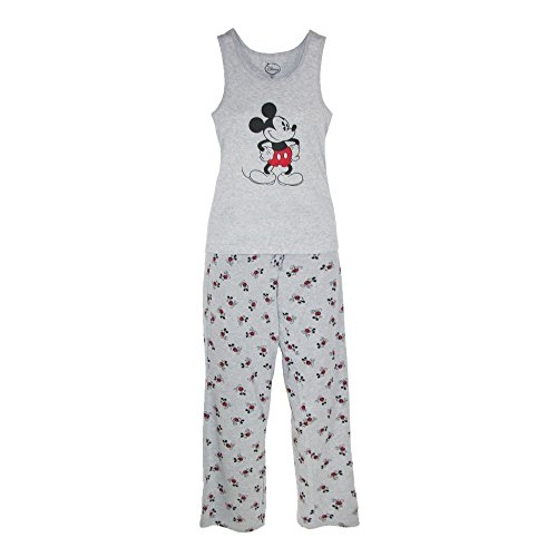Disney Mickey Mouse Womens Tank and Pant Pajama Set, Grey, Large