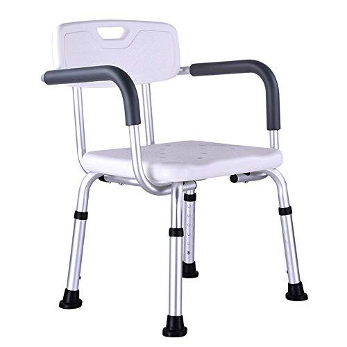 WEIZI Silla de Ducha con Respaldo por Silla de bañera con Brazos Asiento de baño médico Ajustable para discapacitados Personas Mayores