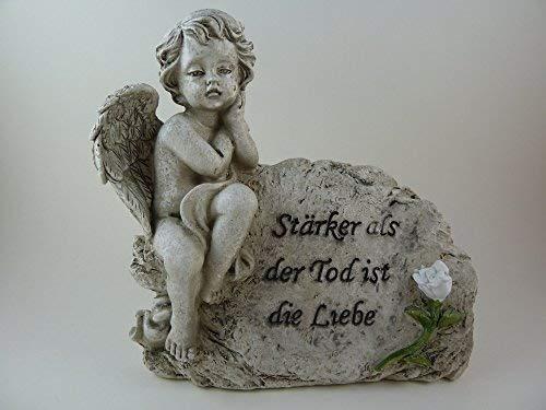 Grabengel auf Grabstein sitzend Grabstein mit der Aufschrift Stärker als der Tod ist die Liebe Engel Trauerengel anmutiger Grabschmuck Trauerschmuck Trauerengel Grabfigur Trauerfigur Gedenkstein wetterfest