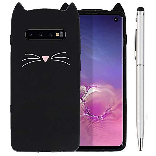 Ash-case Samsung Galaxy S10 DUOS Hülle - Handyhülle für Samsung Galaxy S10 DUOS - Handy Hülle Katze Cover Silikon Schutzhülle schwarz +1x Stylus Touch Pen Silber