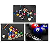 Nachic Wall 3 Pieces Canvas Wall Art Billiard Balls in Black and White Pool Table Pictures Leisure Sport Poster Canvas Print for Game Room Club Bar Bedroom Decor Stretched and Framed Ready to Hang