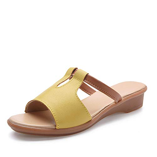 Zapatillas de Estar por Casa Ultraligera,Zapatos de Piscina Chanclas de PlayaSuela de cuero de verano Tendién Outsole Piscina Piscina Flip Flaks Casual Sports and Outdoor Sandals Shoes-amarillo_38