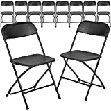 Flash Furniture 10 Pack HERCULES Series 650 lb. Capacity Premium Black Plastic Folding Chair