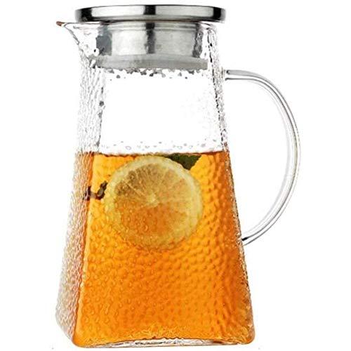 ESGT Jarra de agua con tapa y mango de borosilicato resistente al calor para té, agua fría caliente, vino, café, leche y zumo