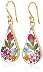 Unique translucent teardrop-shape earrings featuring real dried flowers preserved in resin and surrounded by gold over sterling silver settings The natural properties of real flowers provides a one-of-a-kind look to each piece. The image may show a s...
