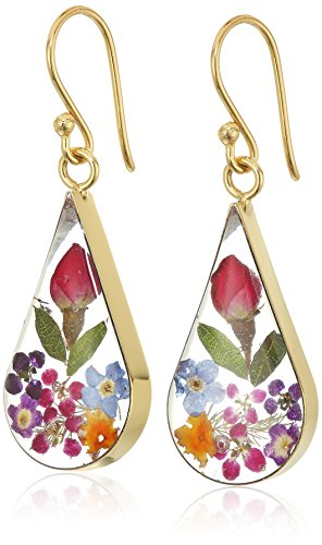 14k Gold Over Sterling Silver Multi Pressed Flower Teardrop Earrings
