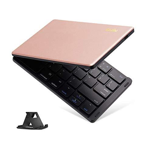 Ewin iPad Bluetooth キーボード 折りたたみ 157g 超軽量 薄型 レザーカバー ワイヤレス キーボード USB 薄型 IOS/Android/Windows に対応 タブレット スマホ スタンド付 日本語説明書 ピンク