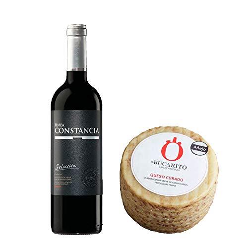 Pack de Vino tinto Finca Constancia Seleccion y Queso Curado Añejo Pasteurizado - Vino de 75 cl y Queso de 800 g aprox - Mezclanza