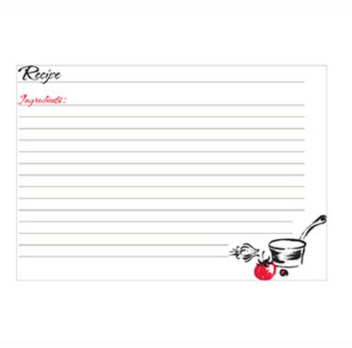 C.R. Gibson Red Blank Recipe Cards, 40 pc, 5'' W x 7'' L