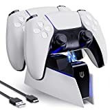 UNBREAKcable PS5 Controller Charger Station,Dual Fast Charging Station Dock for Sony Playstation 5 with LED Indicator- White