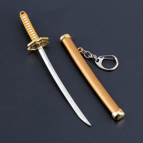 Llavero modelo de juguete con arma de espada de anime, llavero, de Anime ONE PIECE Roronoa Zoro, altamente restaurado, se aplica a los regalos de la colección de fanáticos del anime, Amarillo