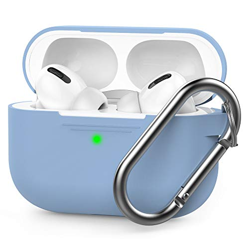 AHASTYLE Silikon Hülle für AirPods Pro Schutzhülle und Haut Case für AirPods Pro [Front-LED Sichtbar] [Kabelloses Laden] Kompatibel mit AirPods Pro 2019 (Mit Karabiner, Hellblau)