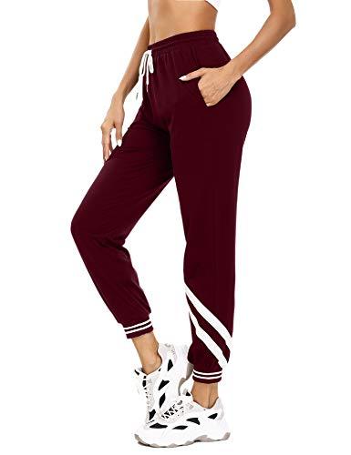 Aibrou Damen Strick Baumwolle Sporthose Sweathose mit Bündchen Traininghose Jogging Hose Slim Fit (Mit Streifen 1- Weinrot, M)