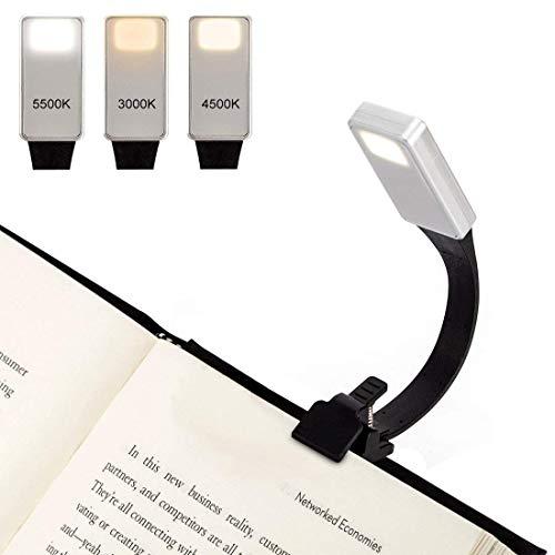 Dokkita Luce da Lettura Ricaricabile, Lampada da Lettura Clip USB Portatile, 3 Luminosità Modalità Regolabile, Lampada da Libro Pieghevole per Libri, iPad, eReader, eBook. Regalo Perfetto