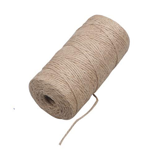 Cuerda de cáñamo de 100 m Cuerda de yute de 3 capas Cuerda de yute natural para floristería, manualidades y manualidades, papel de regalo, jardín y día de acción de gracias, decoración navideña
