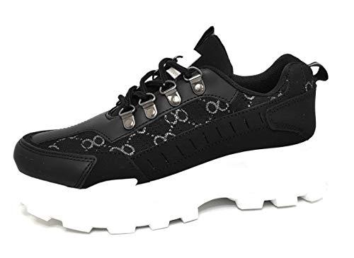 Encarni Zapatería - Zapato Deportivo Mujer Suela Track (Negro, 41)