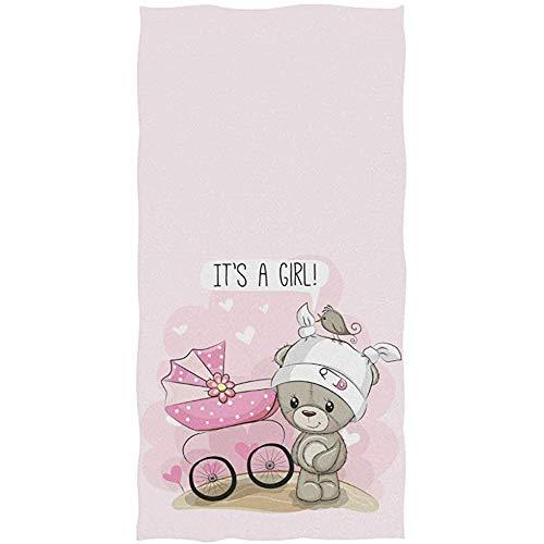Oso De Peluche con Carro De Bebé Rosa Cita De Corazón Es Una Niña En Blanco Toalla De Baño Toallas De Mano Absorbentes para Baño