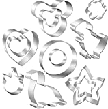 Stainless Steel Sandwiches Cookie Cutter set, Pancake Molds for Kids, Mickey Dinosaur Heart Star Circle shaped Cookie Cutter Mold for Cakes Biscuits Sandwiches Pancake Fondant (12pack)