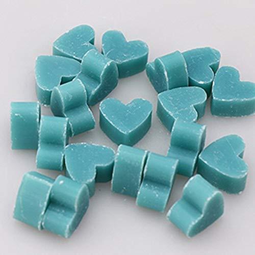 Florex Lot de 50 mini savons au lait de brebis en forme de petit cœur et fleur de bleuet dans une pochette en organza
