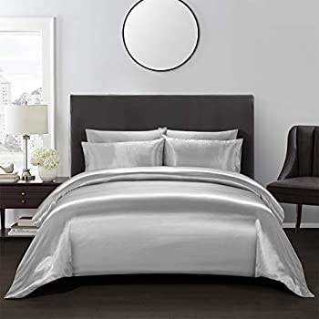 AiMay 3 Piece Satin Duvet Cover Set Bedding Sets Rich Silk Luxury Silky Super Soft Solid Color Hypoallergenic Reversible Stain-Resistant Wrinkle Free  King Silver Gray