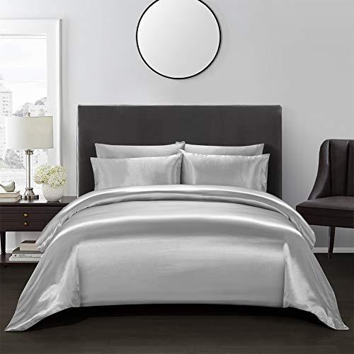 AiMay 3 Piece Duvet Cover Set (1 Duvet Cover + 2 Pillow Shams) Satin Silk Honeymoon Sexy Luxury 100% Super Soft Microfiber Bedding Collection (King, Gray)