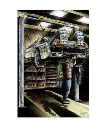 Marty Repairing DeLorean Fan Art Poster in Two Sizes