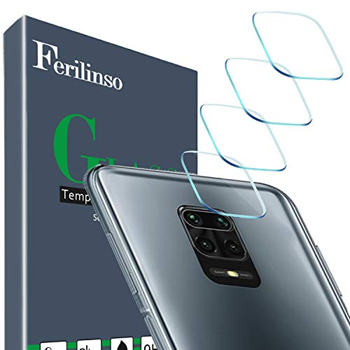 Ferilinso [4 Pack] Compatible con el Protector de Lente de Cámara Xiaomi Redmi Note 9S,Redmi Note 9,Redmi Note 9 Pro, [Hecho de Vidrio Duro] Cristal Templado [Resistente a Los Arañazos](Claro) 🔥