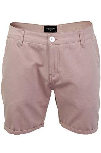 Herren-Brave Soul Smith-Chino-Shorts, Knie-Länge, aus Baumwolle Gr. L, Smith - Pink