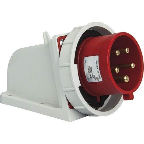 SIROX® CEE-Wandgerätestecker IP 67, 5-polig, 400 V, 6 h Stromstärke 32 A, Phasenwender ja, vernickelte Kontakte nein