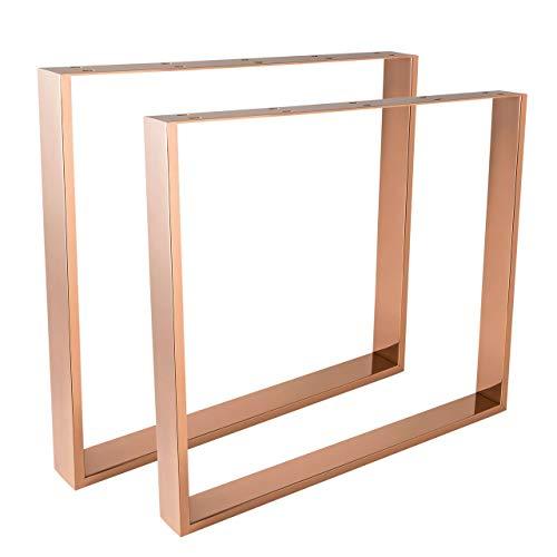 HOLZWERK24 Tischbeine Kupfer/Rosegold TUG 409 Stahl - Tischgestell Tischkufen Tischfüße Tischbein...