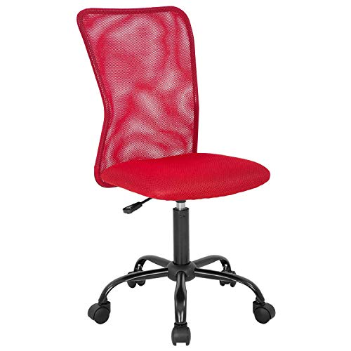 Mesh Task Chair Home Office Chair Armless Ergonomic Computer Chairs Swivel Rolling Desk Chair with Lumbar Support Adjustable Mid Back Chair for Women Adults, Red