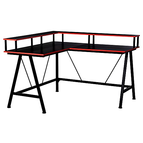 HOMCOM L-Shape Corner Gaming Desk Computer Table with Elevated Monitor Shelf Workstation, Black Red
