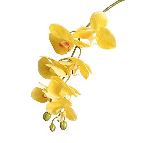 Garretlin - 1 flor artificial artificial, orquídea de mariposa, para decoración del hogar, Flor de seda, Amarillo, talla única