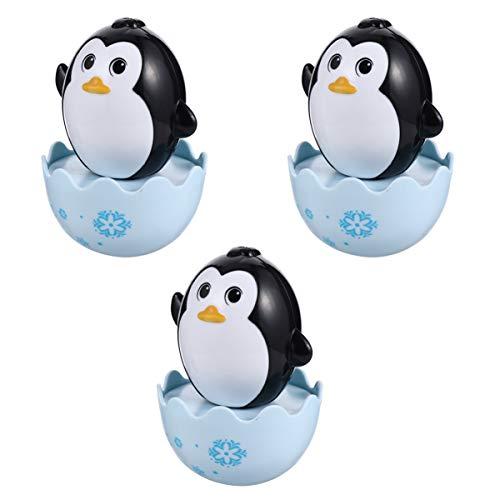 PRETYZOOM 3Pcs Baby Tumbler Doll Pingüino Tumbler Wobbler Roly Poly Juguetes para Bebés Tummy Time Toy Juguetes Educativos de Desarrollo para Bebés Niños Niñas Regalos (Negro)