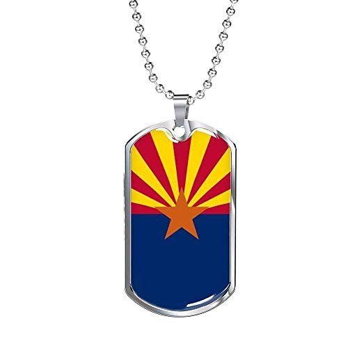 Express Your Love Gifts Arizona State Flag Necklace Stainless Steel Oro 18k Dog Tag w 24' Cadena