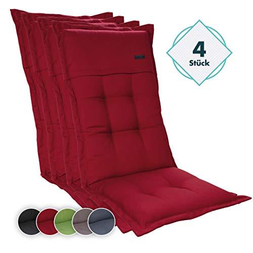 Homeoutfit24 4-Stück Gartenstuhl Auflage (123 x 50 x 8) Elbe, Hochlehner-Auflage aus Dralon, hochwertig, waschbar und pflegeleicht, in Rot