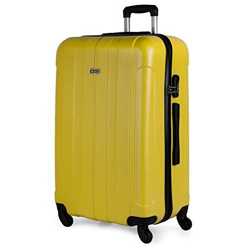 ITACA - Maleta de Viaje Grande XL Rígida 4 Ruedas Trolley 73 cm de ABS Lisa. Cómoda Resistente y Ligera. Calidad Diseño Gran Capacidad. Estilo y Marca. 771170, Color Amarillo