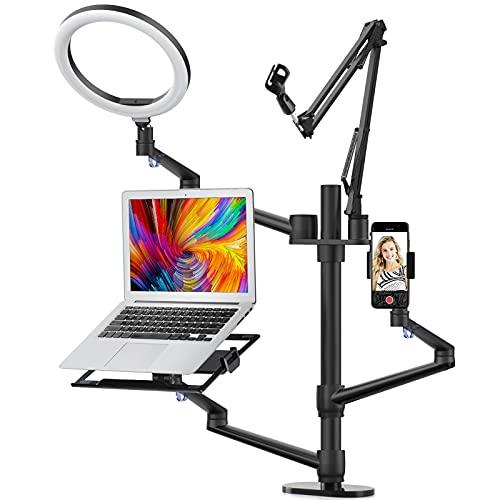 "Viozon Selfie Desktop Live Stand Set 6-in-1 10"" LED Ring Light Microphone Mount Compatible with 12-17"" laptop/17-32'' monitor/7-13 Tablet/3.5-6.7"" Phone/Digital Camera DSLR Online Teaching Meeting"